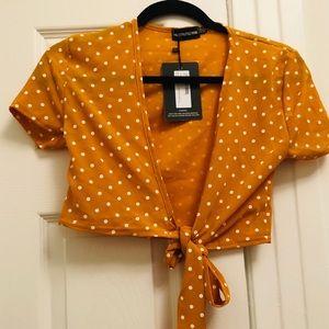 NWT! PLT yellow wrap polka dot cropped blouse